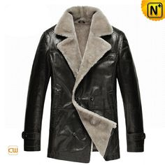 Mens Black Shearling Coat CW878418 #shearling #coat