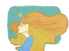 Queen #crown #lips #queen #illustration #blonde #gold #blue #drawing #green