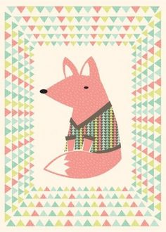 il_fullxfull.108744979.jpg 478×667 pixels #triangles #print #fox #illustration