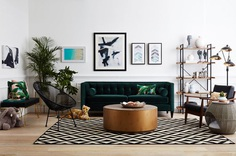 Shop Urban Pipe Bookshelf, Tuxedo Sofa, Rattan Dog Bed, Black and Gold Floor Lamp, Mid-Century Lounge Chair, Reclaimed Wood Coffee Table, Geometric Area Rug, Modern Wicker Patio Chair, Aldelfo Bench and more