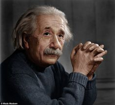 Ingenious: Albert Einstein's thoughtful brilliance is clear to see in this updated photograph #einstein #photography
