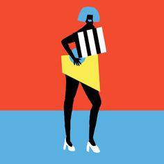 shapes #fitza #illustration #shapes #bold #minimal #simple #pose #fashion #blue #red #black