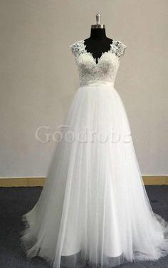 Robe de mariée vintage trou serre ceinture de traîne courte en plage