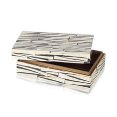 Box Zebra Black And Ivory 7.5cm x 24cm x 16cm