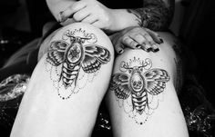 Post Modern Sleaze #moth #tattoo #knees #skull