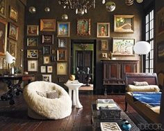 all the art on dark walls, like this look. #walls #frames #decore