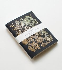Rifle Paper Co: Gold Foil Pocket Notebooks #card #print #floral #paint #illustration #stationery #flower #typography