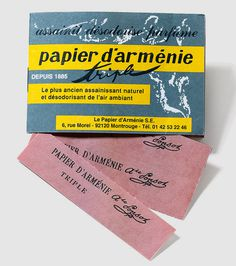 Papier D'Armenie scented paper #packaging #design #paper #typography