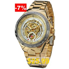 WINNER #Men #Sport #Design #Gold #and #Silver #Steel #Band #Automatic #Mechanical #Watch #- #MULTI-B