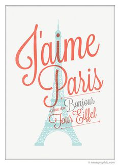 I Love Paris Poster Eiffel Tower Wall Decor by NeueGraphic #print #design #neuegraphic #poster #typography