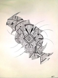Parrot by Nadja Christin #parrot #abstract #drawing #illustration #black #white