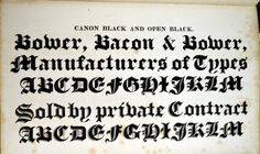 Daily Type Specimen | Blackletter from Bower and Bacon's 1836 Catalog. #typography