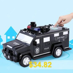 Puzzle #Police #Car #Piggy #Bank #Toy #- #BLACK