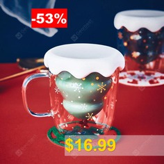 Christmas #Tree #Design #Double-layer #Glass #Mug #Cold #Hot #Resistant #Structure #Transparent #Gift #Cup #- #TRANSPARENT