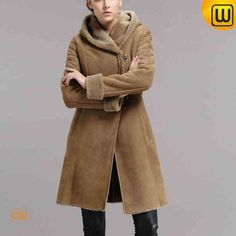 Women Long Shearling Hooded Coat CW640239 #long #shearling #coat