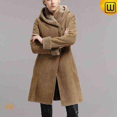 Women Long Shearling Hooded Coat CW640239