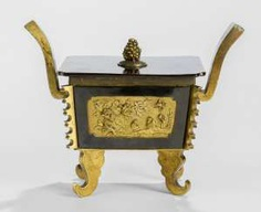 Sawasa-incense burner with fire-gilded Panels and paint the lid
