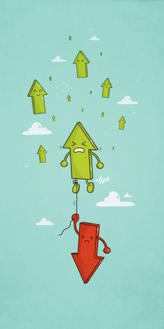 Negativity | Must be printed #red #arrows #floating #illustration #cute #negativity #green