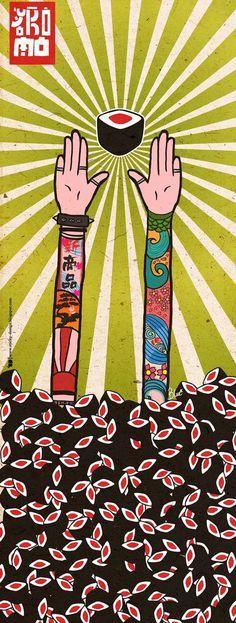 Sticky Design: Illustration Yokomo Sushi doors. #hands #vibrant #sashimi #food #sushi #illustration #arms #nigiri #poster #love #colour #japan