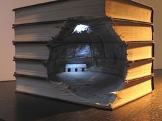 Carved Book Landscapes by Guy Laramee | Colossal #carving #book #art