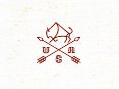 #bison, arrow, logo, design, mike, bruner, #USA, #stamp, #crest