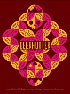 GigPosters.com - Deerhunter #design #skull #screen print #gigposter