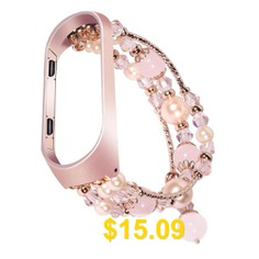 Agate #Pearl #Bracelet #Watch #Band #Replacement #Strap #for #Xiaomi #Mi #Band #4 #- #ROSE #GOLD