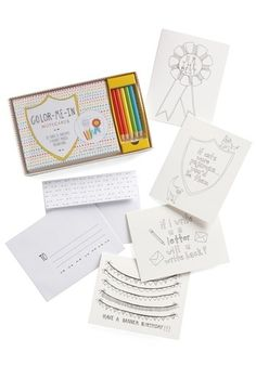 Color-Me-In Notecard Set | Mod Retro Vintage Books | ModCloth.com #drawn #hand