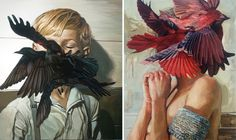 Swarms of Oil Painting Birds #oilpainting #people #birds #meghanhowland #art