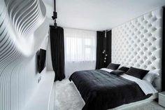 Straight Forward Bedroom Design in Black&White by Geometrix #interior #bedroom #decor #design #apartment