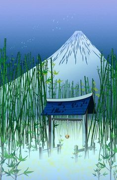 """A moonless night"" #Japan #temple #Fuji #bamboo #illustration #kids #art #cat #fireflies #decor"