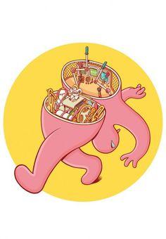 """""""What's Inside?"""" – Character Designs by Brosmind #brosmind #illustration #split #circle #surreal #walk"""