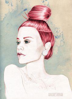 LoveRajn #girl #redhead #illustration #portrait #art #watercolor #drawing