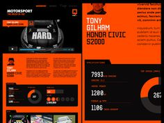 QCARS.TV Infographics 3 #ux #infographics #ipad #civic #orange #ui #honda #statistics #web #online #btcc