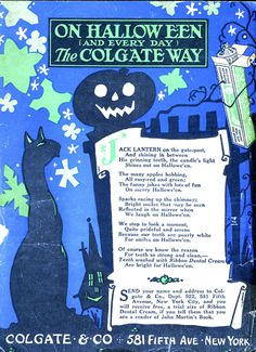 Colgatein John Martin, 1926. Colgate Halloween Retro Illustration