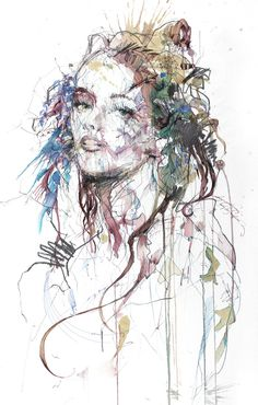 COLLISION on Behance, Ariana Perez #expressive #splatter #watercolor #woman
