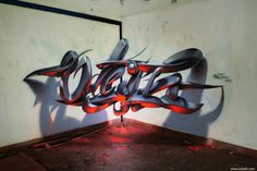 Odeith Anamorphic 3d graffiti orange fluor light lisboa portugal