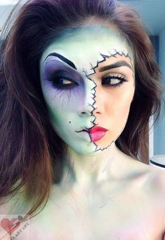 Gorgeous looking Halloween makeup theme. This has an air of corpse bride into it and works perfectly with the cracked double face and sheer