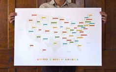 These Are Things / American Flags Map #silkscreen #design #graphic #map #cartography #poster