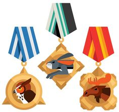 NIKE Animal Badges Always With Honor #always #honor #illustration #medal #animal #with