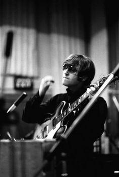 John during a recording session for the album #photography #john lennon #beatles
