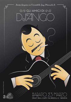 #poster #vintage #retro #lindy hop #swing #djangoreinhardt #manouche #gipsyjazz #micheletenaglia