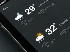 Weather_dribbble #color #dark #weather #ui