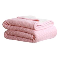 Cable Sherpa Knit Throw Pink 125cm x 150cm