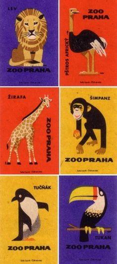 design work life » Vintage Matchbook Labels from the Prague Zoo #matchbox #zoo #illustration #vintage #animals