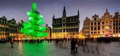 13 Christmas art a abstract evergreen tree in Brussels Belgium #christmas #trees #art #tree