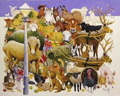 Google Image Result for http://s3.amazonaws.com/magnoliasoft.imageweb/bridgeman/supersize/ps329572.jpg #christmas #illustration #farm #animals