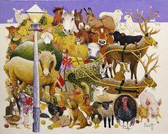 Google Image Result for http://s3.amazonaws.com/magnoliasoft.imageweb/bridgeman/supersize/ps329572.jpg #christmas #illustration #farm #animals