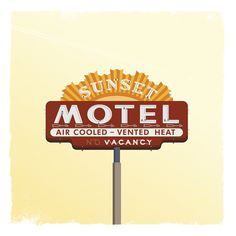 SUNSET MOTEL Art Print #sign #motel #vintage