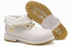 timberland men roll top boots white gold